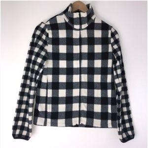 UNIQLO Fluffy Fleece Plaid Black & White Zip Up